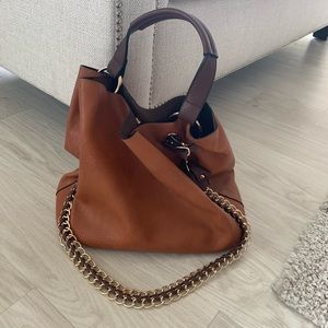 Medium sized brown/gold tote purse